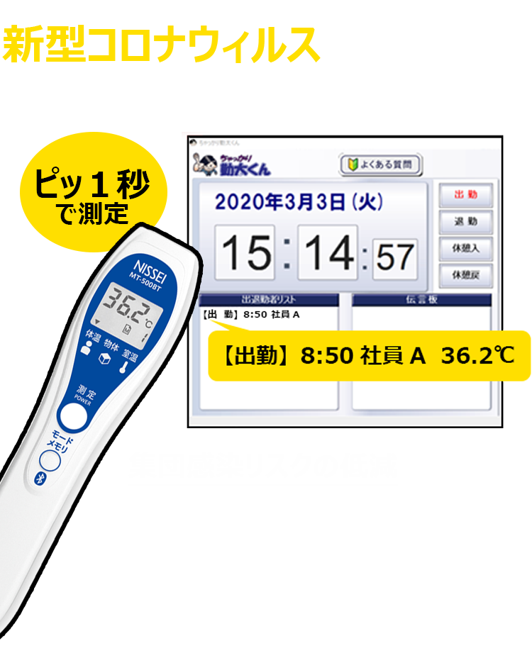 【コロナ対策】新機能「出退勤時間」と「体温」を同時に登録、アラート検知